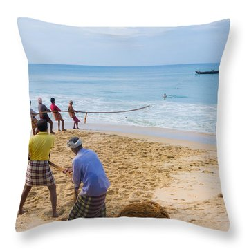 Hoisting The Nets Throw Pillow