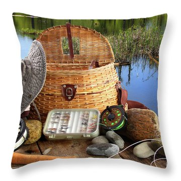 Traditional Fly-fishing Rod With Equipment  Throw Pillow