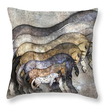 Traditional Horses Throw Pillow