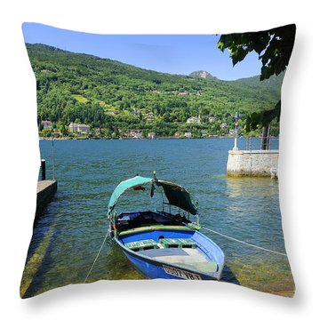 Traditional Lucia Fishing Boat On Lake Maggiore Throw Pillow by Brenda Kean