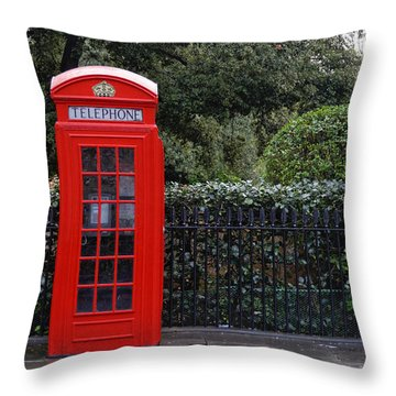 Traditional Red Telephone Box In London Throw Pillow