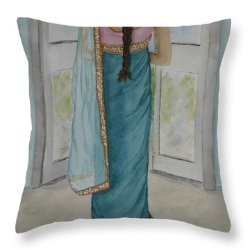 Throw Pillow featuring the painting Traditional Sari by Kelly Mills