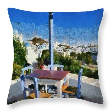 Traditional Tavern In Ios Town Throw Pillow