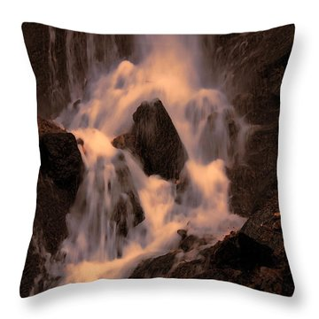 Traditional Waterfall At Sunset Throw Pillow by Lawrence Christopher