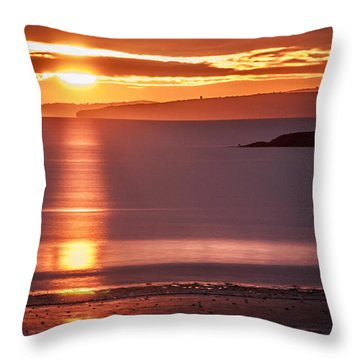 Traeth Bychan At Sunrise Throw Pillow
