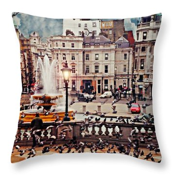 Trafalgar Square London Throw Pillow by Diana Angstadt
