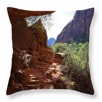Trail From Emerald Pool Throw Pillow
