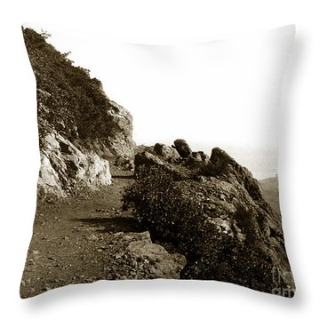Throw Pillow featuring the photograph Trail On Mt. Tamalpais Marin Co California Circa 1902  by California Views Mr Pat Hathaway Archives