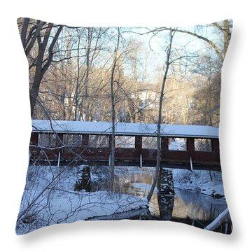 Trail River Covered Bridge Throw Pillow