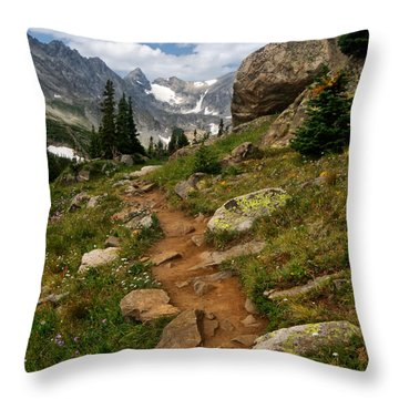 Trail To Lake Isabelle Throw Pillow by Ronda Kimbrow