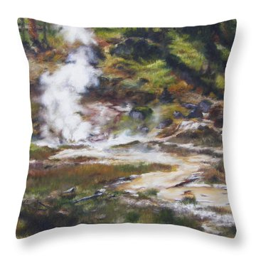 Trail To The Artists Paint Pots - Yellowstone Throw Pillow by Lori Brackett