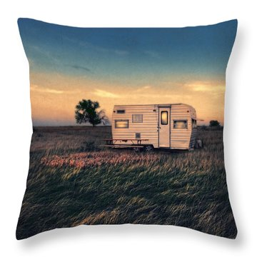 Trailer At Dusk Throw Pillow