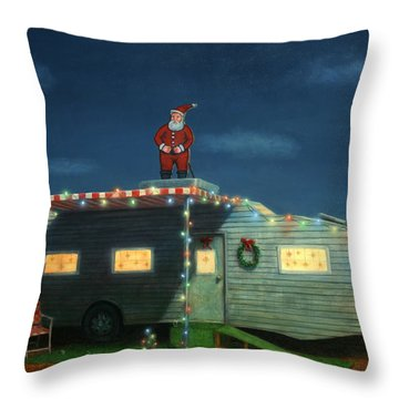 Trailer House Christmas Throw Pillow by James W Johnson