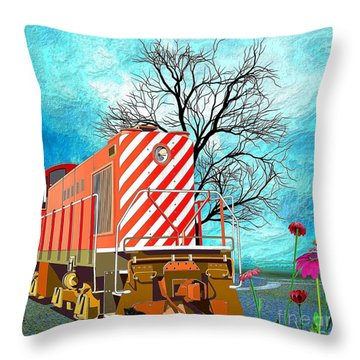 Train - All Aboard - Transportation Throw Pillow by Liane Wright