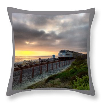 Train And Sunset In San Clemente Throw Pillow