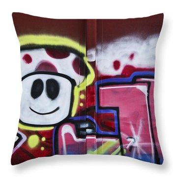 Train Art Cartoon Face Throw Pillow