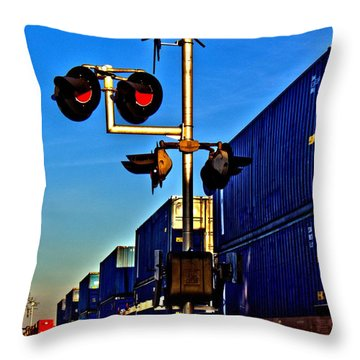 Throw Pillow featuring the photograph Train Blue by Tyson Kinnison