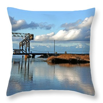 Train Bridge Throw Pillow