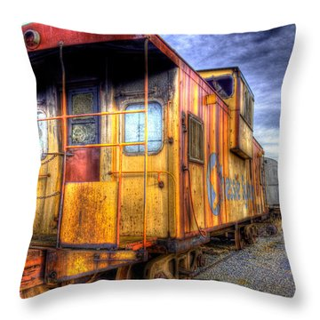 Train Caboose Throw Pillow by Jonny D