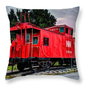Train Caboose Throw Pillow by Valerie Cason