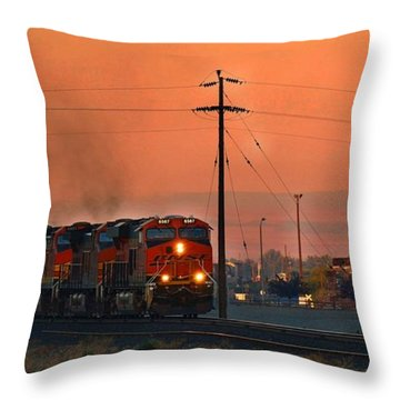 Throw Pillow featuring the photograph Train Coming Through by Lynn Hopwood