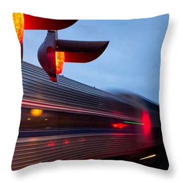 Train Crossing Road Throw Pillow