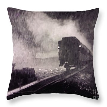 Train Departing Throw Pillow