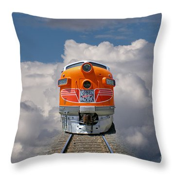 Train In Clouds Throw Pillow by Ron Sanford