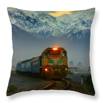 Train In New Zealand Throw Pillow