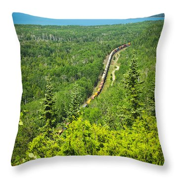 Train In Northern Ontario Throw Pillow