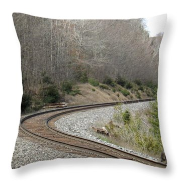 Train It Coming Around The Bend Throw Pillow by Brenda Brown