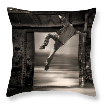 Train Jumping Throw Pillow by Bob Orsillo
