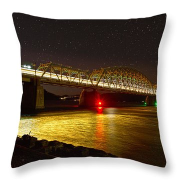 Train Lights In The Night Throw Pillow
