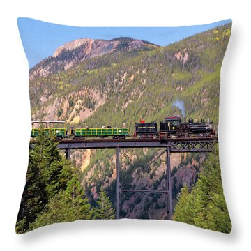Train Over The Trestle Throw Pillow