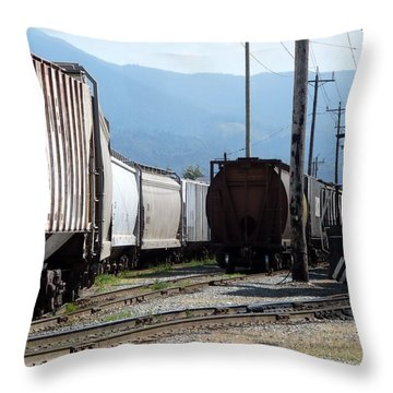 Train Shunting Station Throw Pillow by Nicki Bennett