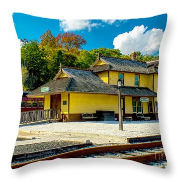 Train Station In Tuckahoe Throw Pillow