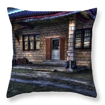 Train Stop Throw Pillow by Thomas Young