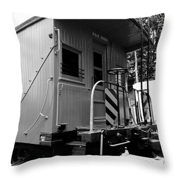Train - The Caboose - Black And White Throw Pillow by Paul Ward