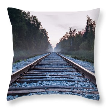 Throw Pillow featuring the photograph Train Tracks To Nowhere by Patrick Shupert