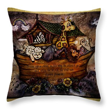Train Up A Child Throw Pillow by La Rae  Roberts