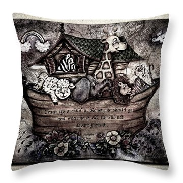 Train Up A Child Muted Throw Pillow by La Rae  Roberts