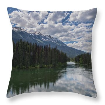 Train Window View Of Lake And Canadian Rockies Throw Pillow