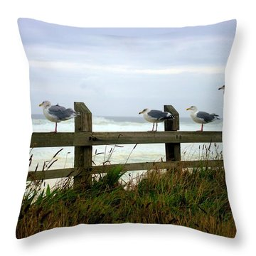 Trained Gulls Throw Pillow by John  Greaves