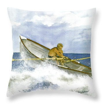 Throw Pillow featuring the painting Training  by Nancy Patterson
