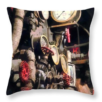 Trains - Inside Cab Of Steam Locomotive Throw Pillow by Susan Savad