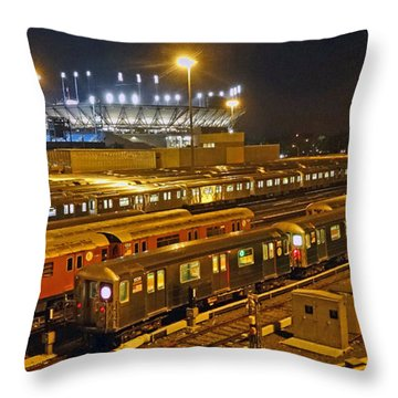 Trains Nyc Throw Pillow