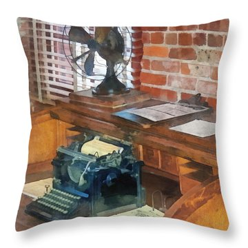 Trains - Station Master's Office Throw Pillow by Susan Savad