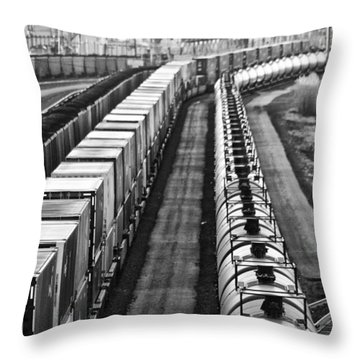 Throw Pillow featuring the photograph Trains Stop For Servicing by Bill Kesler