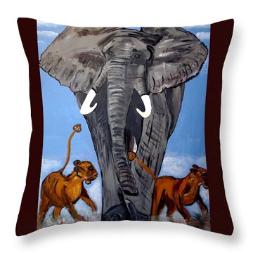 Throw Pillow featuring the painting Trampling Elephant by Nora Shepley