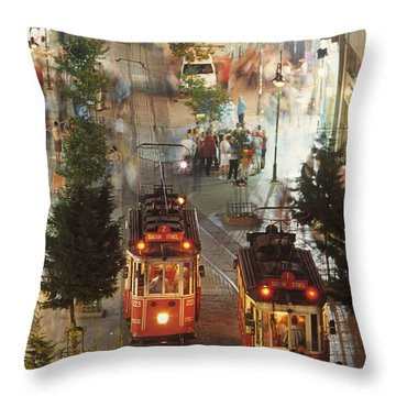 Trams In Beyoglu Throw Pillow